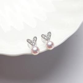 風下Hrfly 甜甜 不能更精致的小桃心 天然淡水珍珠耳釘女耳環氣質白色小珍珠純銀短款耳墜