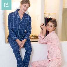 爱帝新款春夏季情侣长袖睡衣可出门女**家居服显瘦套装两件套