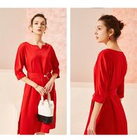 拉夏贝尔2019新款女装夏装法式连衣裙收腰过膝复古气质修身长裙子10020236
