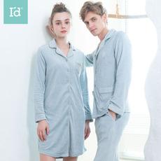 爱帝秋新款情侣长袖睡衣可出门女性感睡裙棉家居服磨毛套装男