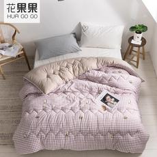 花果果YHW系列 浅咖格纹棉被 牛油果被芯 包边设计