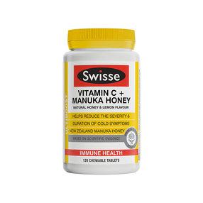 【澳洲直邮】Swisse斯维诗  维生素C+麦卢卡蜂蜜咀嚼片 120粒(到手周期15-20个工作日)
