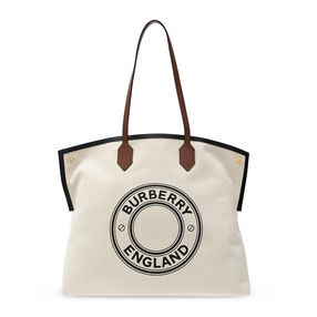 【香港直邮】Burberry 巴宝莉 女士米色字母logo印花图案手提包 8032162