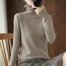 另兮秋冬新款大码堆堆高领毛衣女包芯纱纯色套头长袖针织衫修身打底衫-016PDD0802623