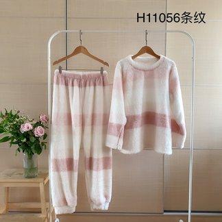 女士长毛绒套头居家服粉色系深浅条纹冬季可出门秋冬居家服睡衣两件套装