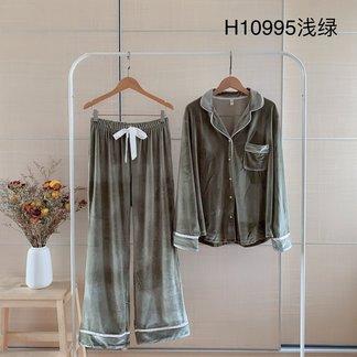 长袖金丝绒性感韩版薄款大码秋冬季珊瑚绒情侣家居服两件套装