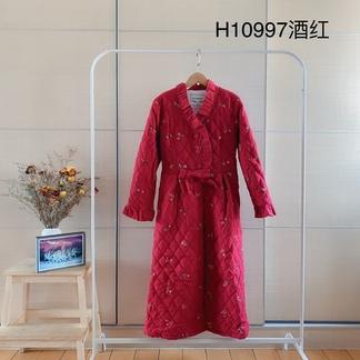 LIMEI里玫冬季新款国风刺绣长袍外棉里绒加厚款居家服睡衣-H10997