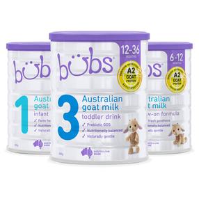 【澳洲直邮 三罐装】Bubs A2羊奶粉1段2段3段800g【12罐装送行李箱 可混搭拼配 限量一单】
