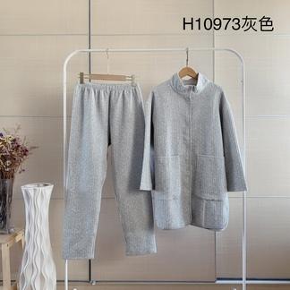 LIMEI里玫简约休闲版**纯色灰色长版家居服睡衣套装H11078