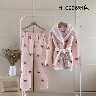LIMEI里玫冬季新款刺绣加厚保暖家居服睡衣套装-H10996