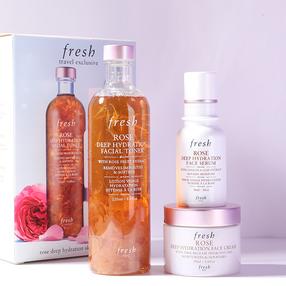 法国Fresh馥蕾诗玫瑰三件套 玫瑰水250ml+精华30ml+面霜50ml