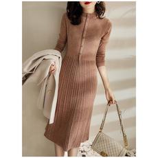 另兮2020年新款羊毛混纺坑条针织连衣裙020A102034