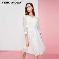 【預售】VERO MODA壓褶設計光澤感襯衫連衣裙 319331515