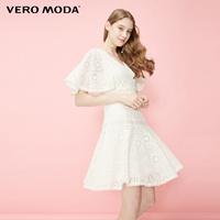【預售】VERO MODA蕾絲面料五分袖V領連衣裙 31936Z502