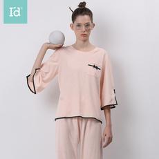 爱帝2020年春夏新品女式彩棉七分袖长裤家居服套装