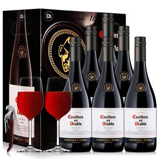 智利原装原瓶进口红酒 干露红魔鬼葡萄酒 设拉子红葡萄酒整箱 750ml*6