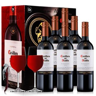 智利原装原瓶进口红酒 干露红魔鬼葡萄酒 梅洛红葡萄酒整箱 750ml*6