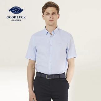 GOODLUCK德鲨全棉纯色休闲短袖衬衫B181435