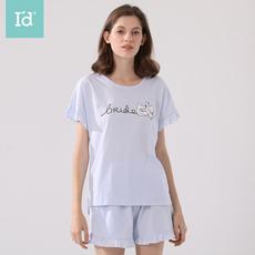 爱帝2020年春夏新品女式印花短袖短裤家居服套装