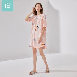 爱帝2020年春夏新品女式纯棉印花短袖家居睡裙单件
