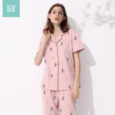 爱帝2020年春夏新品女式提花短袖长裤家居服套装