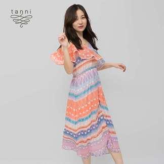 tanni春夏新款流苏编织印花时尚中长款吊带连衣裙5H1D066PBN