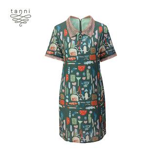 tanni2020春夏新款女装短袖印花显瘦衬衫领气质连衣裙TJ11DR018A