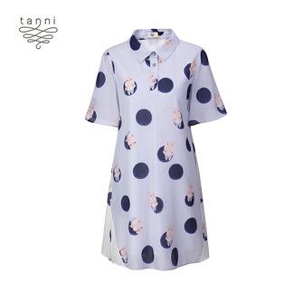 tanni2020夏季新款波点印花A版衬衫领青春短袖连衣裙TJ11DR014B