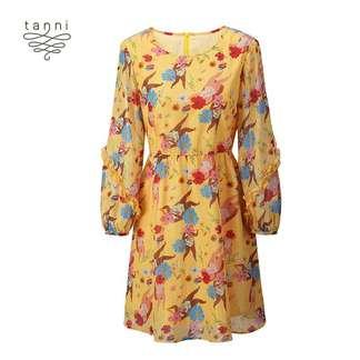 tanni2020夏季新款女装A版百搭显瘦V领连衣裙TJ11DR313A