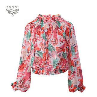 tanni2020春季新款女装炫彩糖纸印花少女感上衣TJ11BL046B