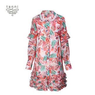 tanni2020春季新款女装炫彩糖纸印花张艺上同款连衣裙TJ11DR010A