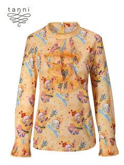 tanni2020春季新款女装炫彩双子星印花版型简约衬衣TJ11SH800A