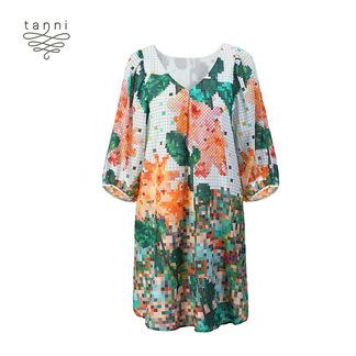 tanni2020春夏新款丝绵女装马赛克印花复古舒适连衣裙TJ11DR097A