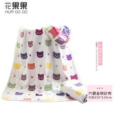 花果果 婴儿专用全棉抱被 小熊提花六层纱布盖毯