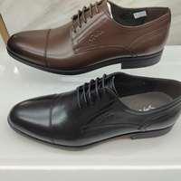 沙馳男鞋黑色經典商務正裝系帶鞋男 頭層尖頭牛皮鞋低幫透氣雙接頭驚爆價斷碼處理