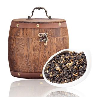 龙问号 滇红茶 红螺 云南 凤庆散茶 大树工夫红茶 精美木桶装500g