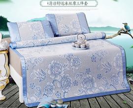 北极绒冰丝凉席三件套-蓝色180*200cm(蓝色)