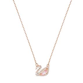 【香港直邮】Swarovski 施华洛世奇 Dazzling Swan 玫瑰金色天鹅粉色仿水晶项链女锁骨链 女友礼物 5469989