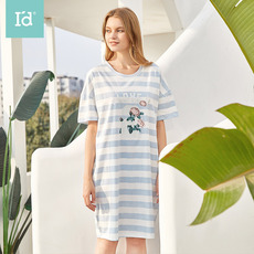 爱帝2020年春夏新品女式条纹印花短袖睡衣裙