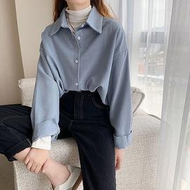 另兮2021年新款韩版纯色衬衫女宽松长袖上衣设计感加厚白色衬衣-016PDD1481971