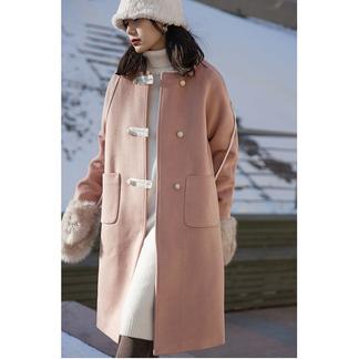 读衣拾年温柔风毛呢外套女宽松气质小个子中长款呢子大衣-016PDD150239