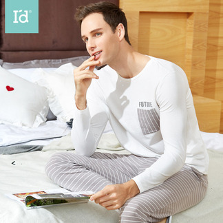 爱帝春夏男士长袖长裤家居服套装男士外穿睡
