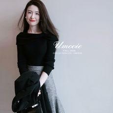 另兮2021新款优雅小礼服款高密黑色衫针织衫修身内搭一字领上衣-016PDD1165680