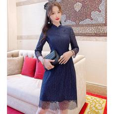 另兮2021年新款蕾丝新款旗袍裙定制蕾丝连衣裙里布九分袖设计单穿打底配外套都很洋气-020A102054