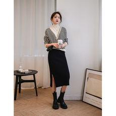 另兮高领条纹毛衣女宽松外穿2020年冬新款假两件设计感复古针织衫韩版-016PDD1184500
