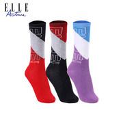 ELLE ACTIVE 三双女装拼色中筒袜 BW1C15552001Z3【仅 限自提】
