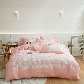 VIPLIFE全棉刺绣四件套 简约条纹纯 棉床单床笠床品套件【格调系列】