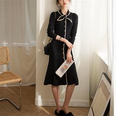另兮法式复古气质针织连衣裙春季2021年新款黑色打底裙过膝中长款-016PDD1614990