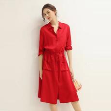 另兮显白 年轻 醋酸 法式小众红色莱赛尔连衣裙 简约气质衬衫裙-020A102072