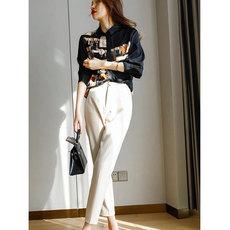 另兮2021黑色印花时尚洋气小衫法式衬衫衬衣-020A102078